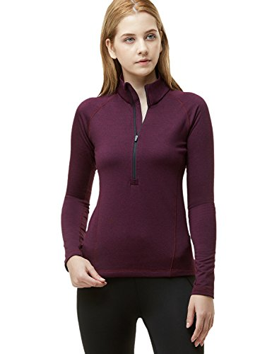 TSLA Women's Winterwear Sporty Slim Fit 1/2 Zip Fleece Lining Pullover, Active Halfzip(xkz02) - Heather Wine, Large