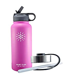Smart Flask, Stainless Steel Vacuum Insulated water bottle, Includes Straw Lid and Stainless Steel Lid, 32 Oz., (pink)