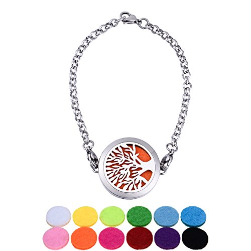 White K Stainless Steel Circular Hollow Tree Can Be Opened Diffuser Life Scent Magnetic Lock Bracelet 22cm-1 - White Circular Bracelets