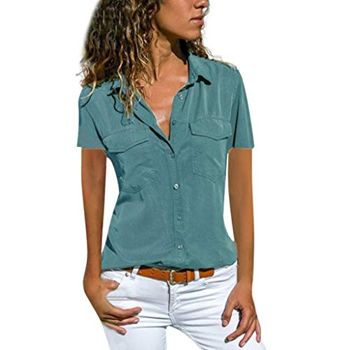 Button T-Shirt with Pockets for Women,Fashion Turn Down Collar Casual Solid Short-Sleeve Summer Tops Plus Size(2XL,Blue)