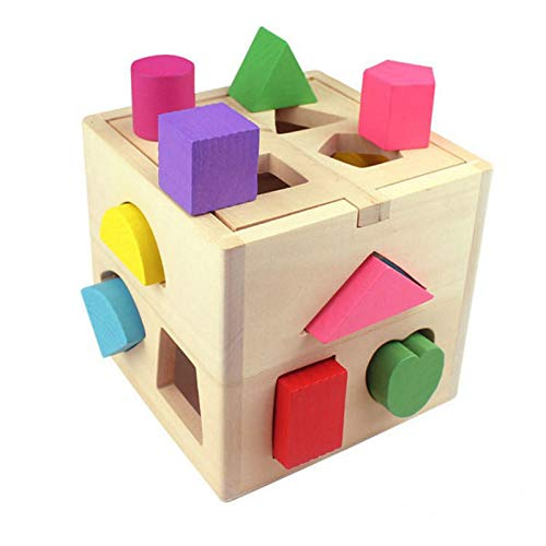 (DREAMT Wooden Shape Sorting Cube, Color Recognition Shape Toys, Early Educational Toy for Kids and Toddlers, Includes 13 Shapes)