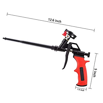 Needn't Clean Foam Gun, Pu Expending Foaming Gun, Upgrade Caulking Gun, Heavy Duty Spray Foam Gun, Mental Body Covered with PFTE, Suitable for Caulking, Filling, Sealing, Home and Office Use from SOCSPARK