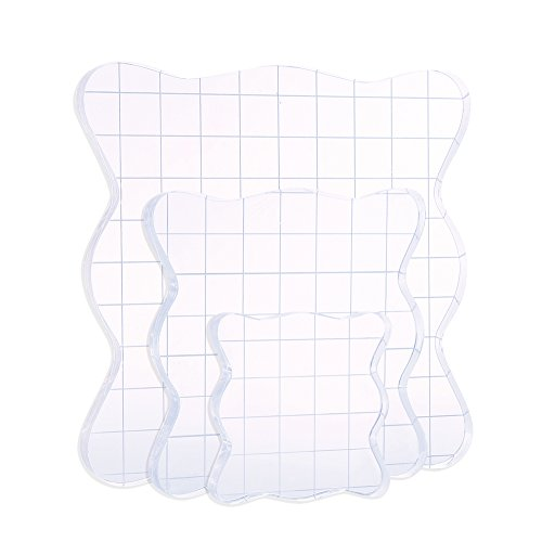 DECORA Acrylic Clear Rubber Stamping Blocks Set with Grid Package of 3 Acrylic Unmounted Stamp Set