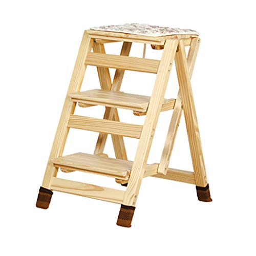 Folding 3 Tread Stepstool Ladder, Household Stair Dining Chair Wood Stepladders for Kids & Adults, Home Garden Tool Heavy Duty Max. 200kg from JHome-Stepstools