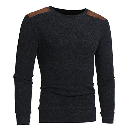 Stripe Button Hipster (kaifongfu Men's Autumn Sweater, Winter Pullover Slim Jumper Knitwear Outwear Blouse (Gray, XXL))