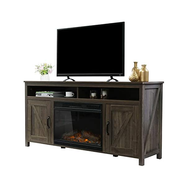 VINGLI Farmhouse Electric Fireplace TV Stand with Barn Doors, 60 Inch TV Stand with Fireplace Media Console, TV Cabinets…