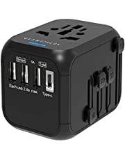 Universal Travel Adapter, GLAMFIELDS International Power Adapter, Worldwide All in One AC Outlet Power Plug Adapter with 3 USB + 1 Type C Charging Ports for USA UK AUS European 200 Countries
