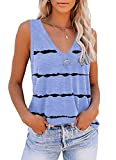 ETCYY Tie Dye Sleeveless V Neck Tank Tops for Women Summer Cute Printed Loose Fit Workout Athletic Yoga Shirts
