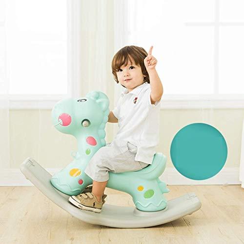 WJMLS Schaukelpferd Kinderspielzeug Gürtel Musik Plastikinnenkindergarten Männliche Schaukelstuhl Eindickung (Farbe: Grün)