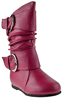 DATA 85 F Little Girls Slouch Mid Calf Boots Fushia 4 TODDLER