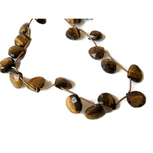 10 Pieces - Tigers Eye Briolette - 15x15mm Faceted Heart Shaped Briolettes