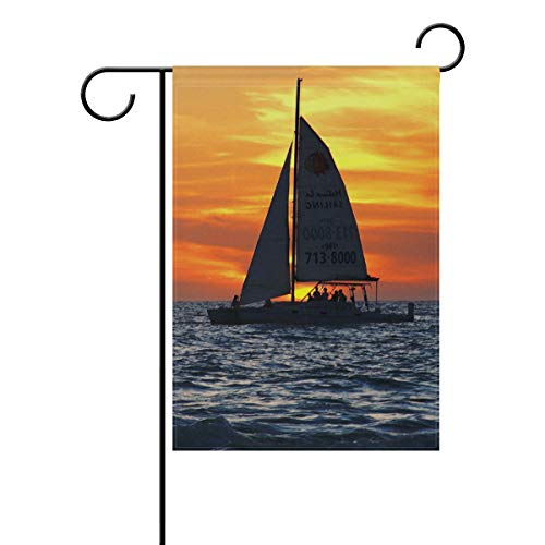 LvShen Sunset Sailboat Garden Flag 28 x 40 Inch Holiday House Flags Inch for Party Yard Home Decor Double-Sided Durable Polyester