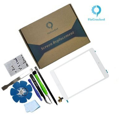 iPad mini 1/ ipad mini 2 Front Glass/Digitizer Touch Panel Full Assembly with IC Chip & Home Button replacement &tool kit White(Step by Step Instruction) by FixCracked