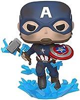 Funko -  Pop! Marvel: Avengers Endgame - Captain America with Broken Shield & Mjoinir Figurina de Colección, Multicolor,...