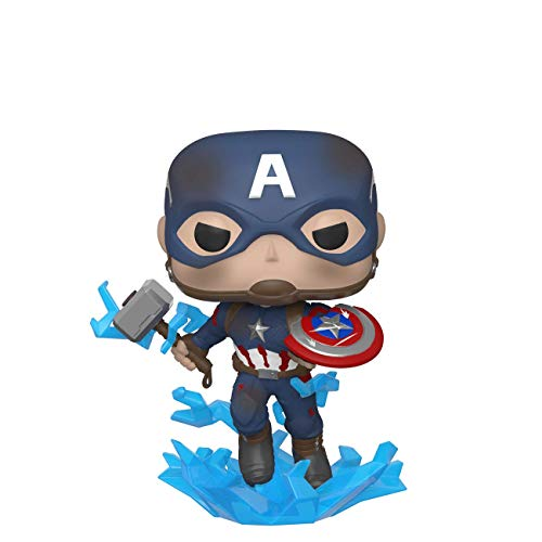 Funko- Pop Marvel: Endgame-Captain America w/BrokenShield & Mjolnir Capt A w/BrokenShield&Mjolnir Collectible Toy, 45137, Multicolour
