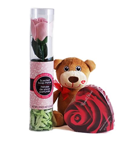 Teddy Bear Gift with Chocolates and Scented Rose Soap Petals