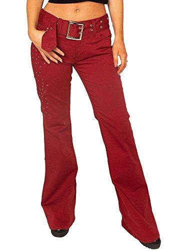 Pantalones Campana Acampanados Mujer Rojo para Estilo Jeans Retro Anchos de ZZqRUr