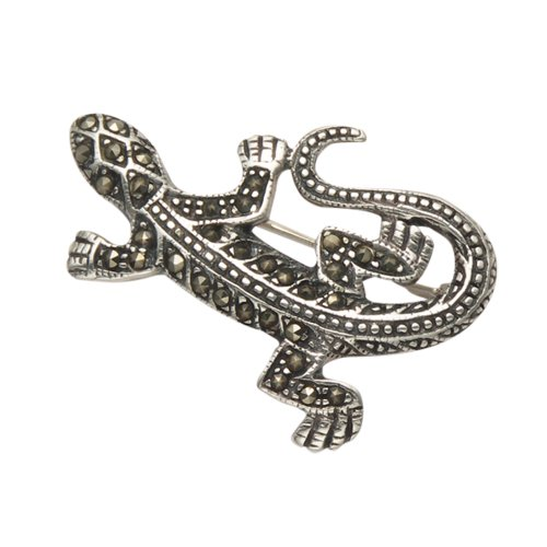 Sterling Silver and Marcasite Salamander with Curled Tail - Pin Marcasite Lizard