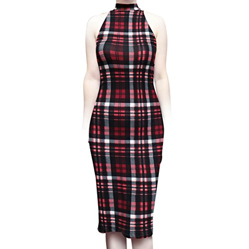 Sleeveless Vintage High Casual Women's Pink Sexy Dress Neck Plaid Bodycon ShopMyTrend Work Midi Office SMT xn8wIOWqEU