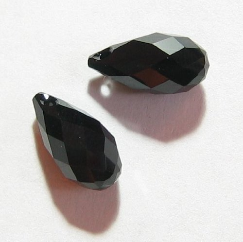 2 pcs Swarovski Crystal Teardrop 6010 Briolette Pendant Charm Jet Black 11mm / Findings / Crystallized Element (6010 Briolette Pendant)