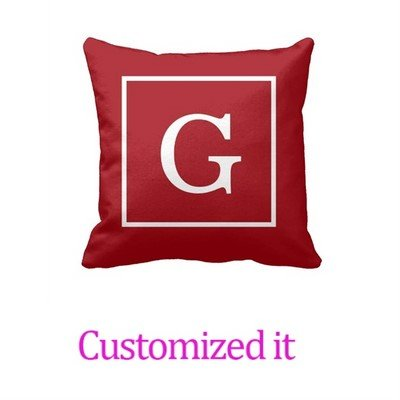 Customize Your Own Pillowcase Cranberry Red White Framed Initial Monogram Throw Pillow Cover 18