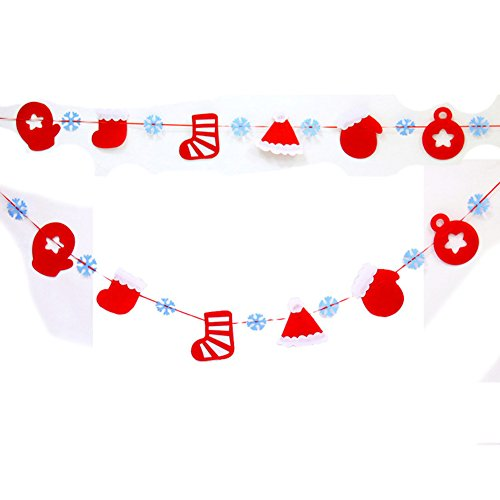 Wood Bury Christmas Holiday Felt Garland Decoration Banner with Hanging String Gloves