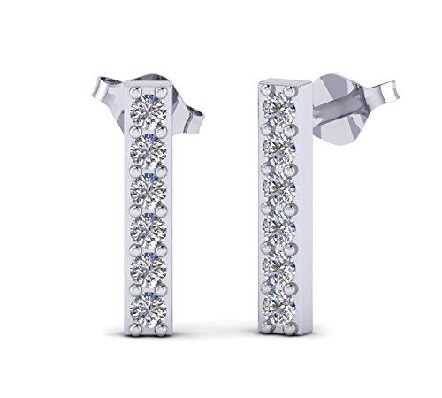 atural Diamond 14k Gold Fashion Stud Earrings Gift For Women (white-gold) ()
