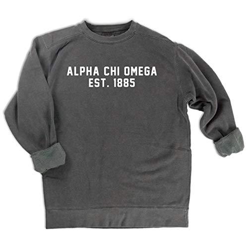 Alpha Chi Omega EST. 1885 Sweatshirt | Sorority Comfort Colors Sweatshirt (Medium)