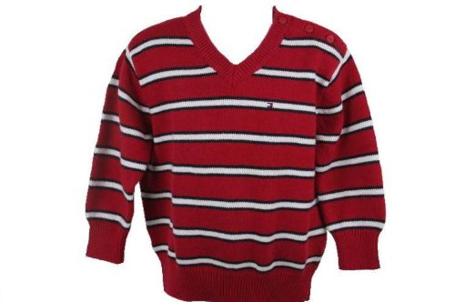 Tommy Hilfiger Baby Boys Toddler Boys Red Striped V-Neck Sweater