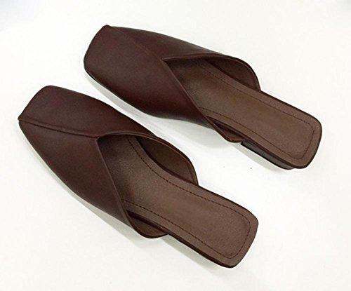 Fräulein Xia Ji Baotou Sandalen und Pantoffeln mit niedrigen Absätzen Schuhe wilde Nonne Großmutter Schuhe Brown