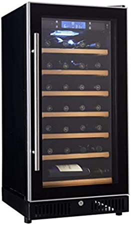 HUATINGRHHO Silencioso Vinoteca de 26 Botellas Temperatura 5° - 22° C Display Digital, Panel de Control Táctil iluminación LED 7 Baldas de Madera, Negro Puerta Cristal