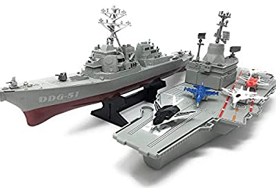 Xplore Aircraft Carrier Toy,with 5 Aircrafts Includes Destroyer Ship