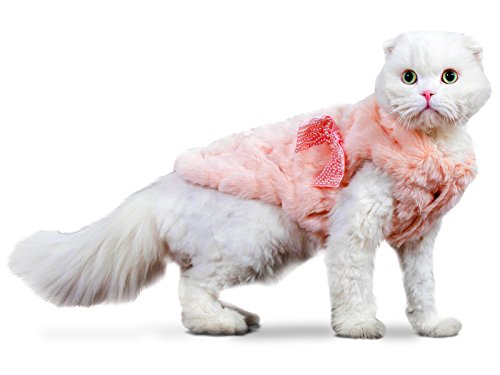 PLS Pet Halloween Faux Fur Pet Coat, Small, Winter Dog Coat, Dog Jacket, Dog Costume, Cat Costume, For Small Dogs or Cats, Cold Weather, Princess Costume for Halloween Sale -