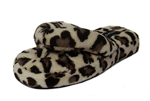 Fluffy Leopard Prints Flip-flops for Women Slide House Fleece Slippers (US lady size 7.5-8.5, Brown leopard) (Brown Thong Slippers)