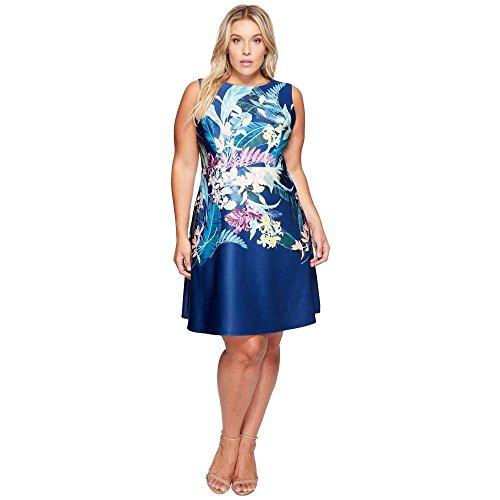 病気の写真スクラップブック(アドリアナ パペル) Adrianna Papell レディース ワンピース?ドレス ワンピース Essence Printed Scuba Jewel Neck Fit and Flare Dress [並行輸入品]