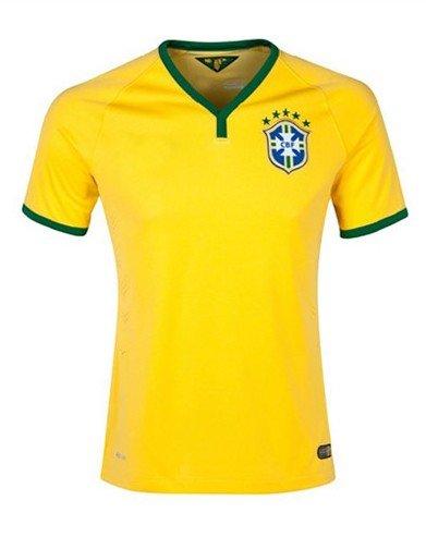 New Brazil 2014 World Cup Nation Home Yellow Soccer Jersey Uniform Man Size XL