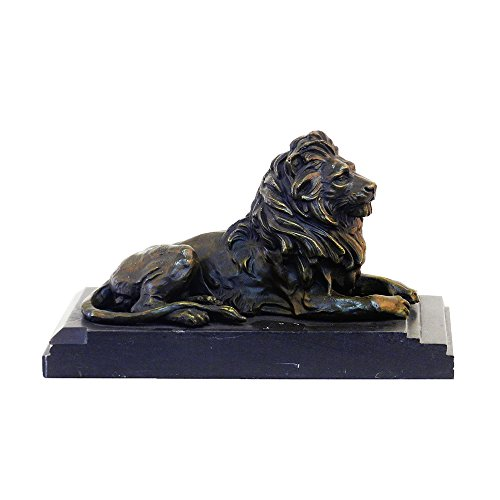 SHTONE Lion Small Bronze Statue Animal Sculpture Left Figurine Home Decor YDW-071
