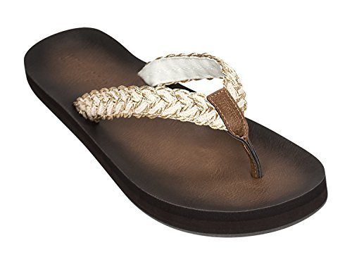 Tidewater Cabana Collection Womens Flip Flop Sandals  8 B M  Us  Tallulah Gold