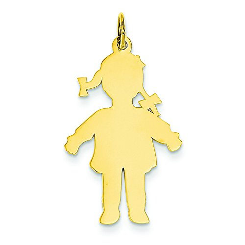 14k Plain Polished Large Girl Charm by Shop4Silver