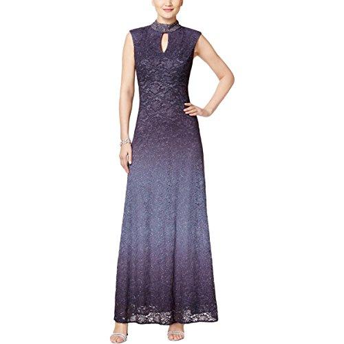 Alex Evenings Women's Jewel Neck Ombre Evening Dress, Smoke, 10
