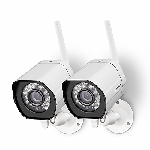 Zmodo Wireless Security Camera System (2 pack) Smart HD Outdoor WiFi IP Cameras with Night Vision by Zmodo