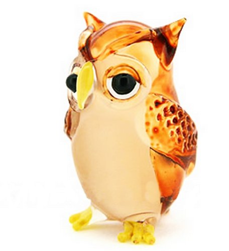Lampwork COLLECTIBLE MINIATURE HAND BLOWN Art GLASS Single Owl Brown FIGURINE by ChangThai Design