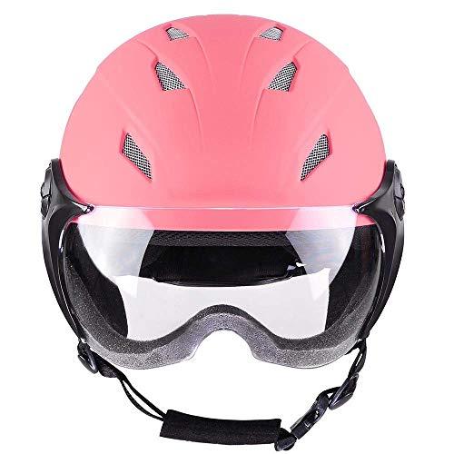 Kids Snow Sport Helmet ATSM Certified Ski Skate Board Protective Skiing Snowboard Skating Skateboard (Matte Pink, Size S)
