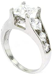 Classic Engagement Ring w/Square Radiant White CZ, .925 Sterling Silver