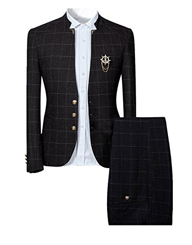 Mens Unique Slim Fit Checked Suits 2 Piece Vintage Jacket and Trousers (Large, ()