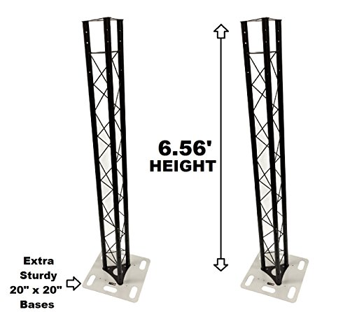 Two (2) Totem 2 meter 6.56ft Black Triangle Metal Truss Tower + 20''x20'' Base Vertical System by Cedarslink