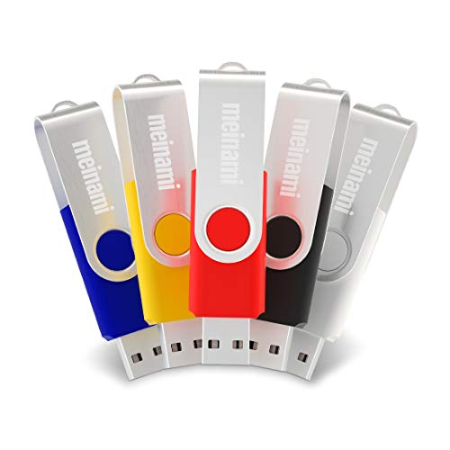 (MeiNaMi 32GB USB Flash Drive Swivel Keychain Design Thumb Drives Mini USB Key Flash Memory Stick (Multicolor, 5 Pack))