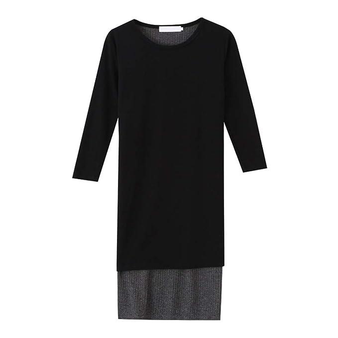 Hzjundasi Maternidad Faldas - Mujeres Embarazada Alto Elasticidad Tornillo Hilo Largo Manga Vestido Redondo Cuello Suave