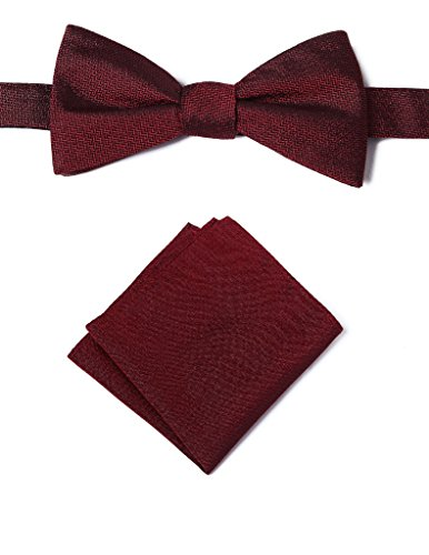 Origin Ties Men's Textured Solid Color Silk Bow Tie Pocket (Pattern Silk Bow Ties)