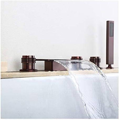 ウォーターフォールORB浴槽の蛇口温水と冷水広範囲5穴3円形ハンドルバスルームの蛇口デッキマウントバスシャワーミキサータップハンドヘルドシャワー